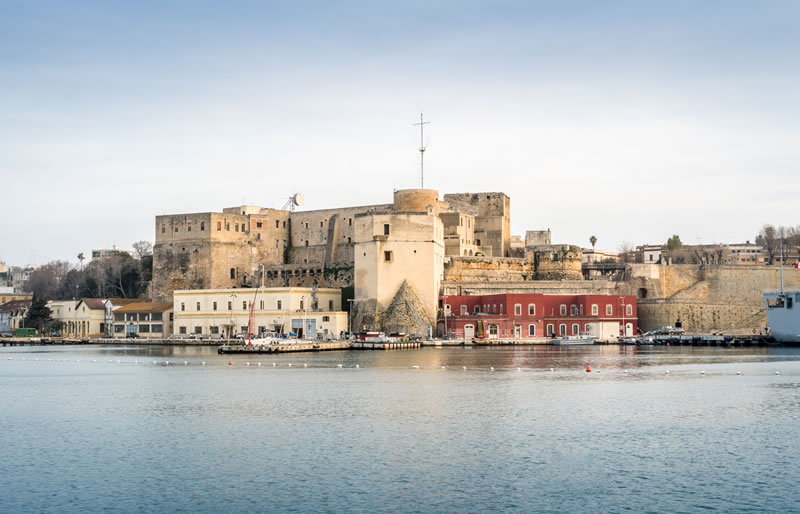 "<b>Svevo  Castle</b><br> <br> This castle, also known as ""soil castle"", lies near Brindisi's historic centre  and extends across a trapezoid-shaped courtyard. There are 6 circular and 1  pentagonal towers."